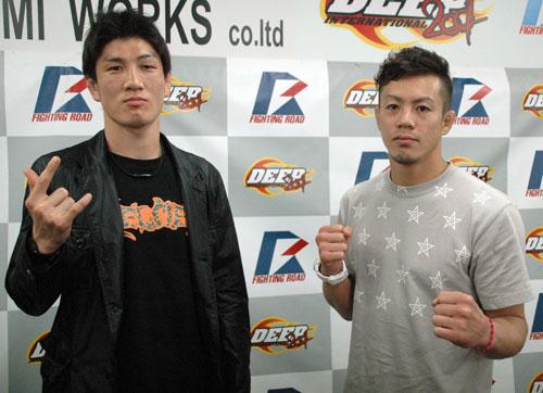▲対戦が決定したDJ.taiki(左)と釜谷真 5月8日(火)東京・大...  【DEEP】6・